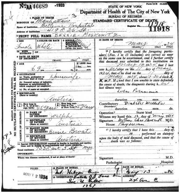 Bessie Brotman Moskowitz death certificate