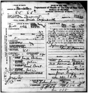 Frieda Brotman Coopersmith death certificate
