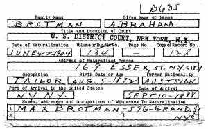 Naturalization of Abraham Brotman Max as Witness