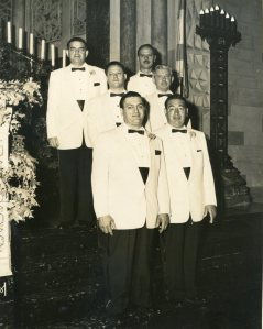 Sam as a groomsman at Rosalind's wedding