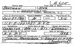 "Max ""Bratman"" Naturalization Card"