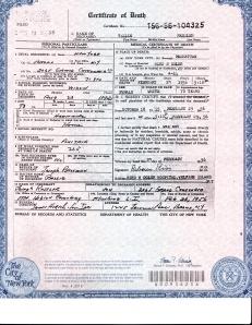 Tillie Ressler's death certificate