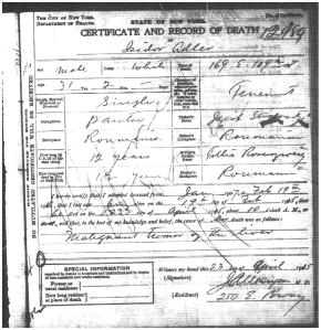 Isidor Adler death certificate