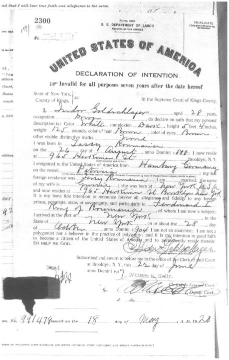 Isadore Goldschlager naturalization papers page 1