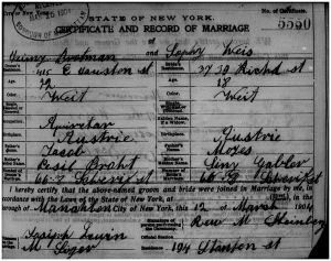 Hyman and Sophie's marriage certificate 1904