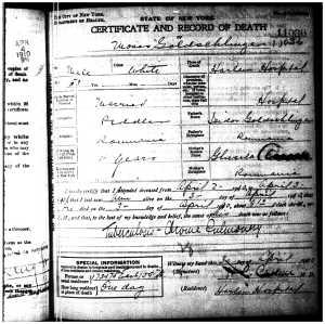 Moritz Goldschlager death certificate