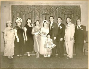 Betty, Irving's mother, Irving's sister-in law, Frieda, Estelle, Irving, Irving's brother, Abe Albert, and Isidor Feuerstein at Estelle and Irving's wedding