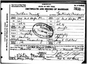 Nathan and Gertrude marriage certificate