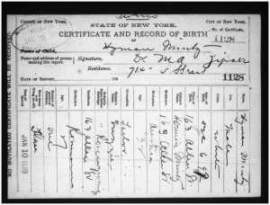 Hyman Mintz birth certificate
