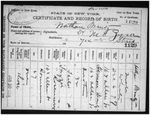 Nathan Mintz birth certificate