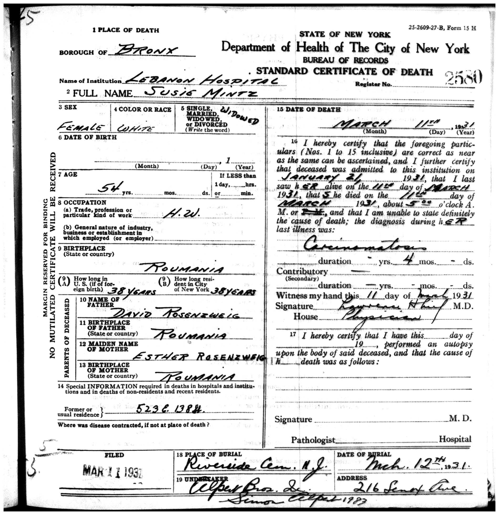 Death certificate brotmanblog a family journey page 3 susie mintz death certificate xflitez Gallery