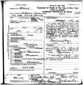 Susie Mintz death certificate