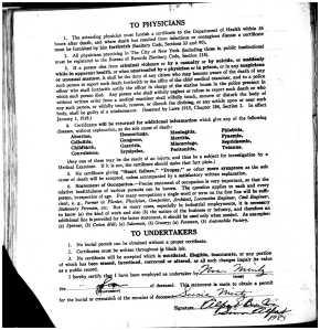 reverse of death certificate