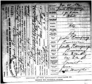 David Rosenzweig death certificate