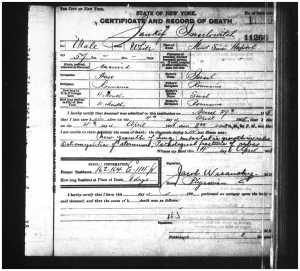 Jankel Srulovici death certificate