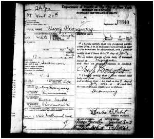 Harry Rosenzweig death certificate
