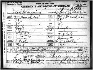 Jacob Rosenzweig and Ethel Bloom marriage certificate
