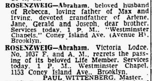 Abraham Rosenzweig death certificate May 14, 1961 NYTimes