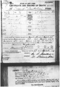 Toscano Bartolini death certificate