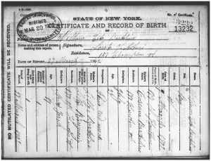 William Bartolini birth certificate