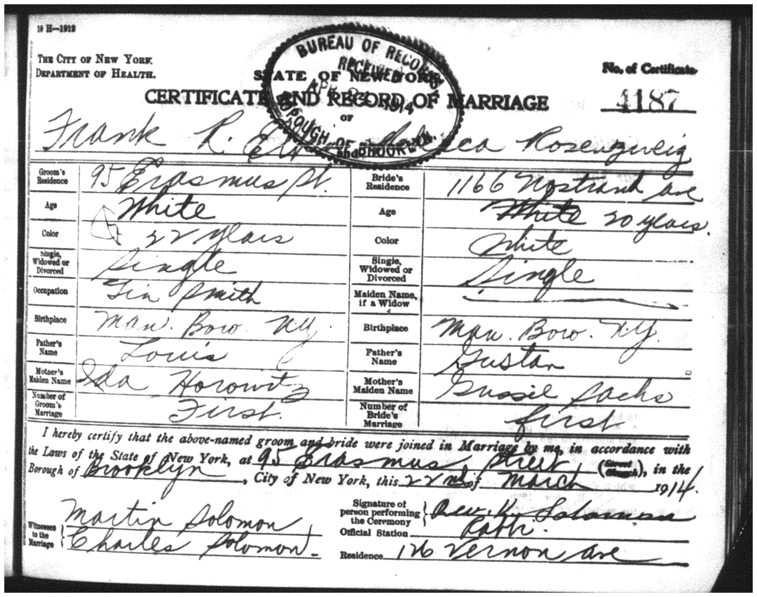 My grandfathers cousin rebecca another life cut short rebecca and frank elkin marriage certificate aiddatafo Images