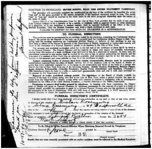 Gustave Rosenzweig death certificate 1944