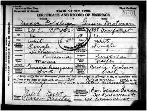 Isadore Goldschlager and Bessie Brotman  marriage certificate