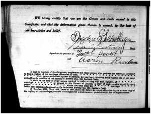 Isadore and Gussie marriage cert 2