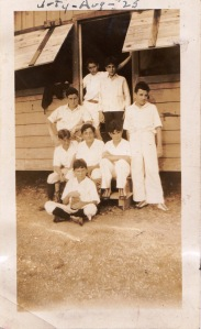 Manny (far left) at camp in 1925