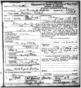 Milton Elkin death certificate