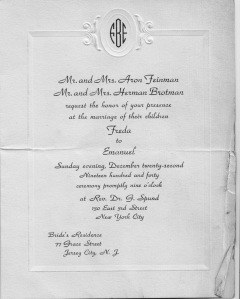 Freda and Manny's wedding invitation 194?
