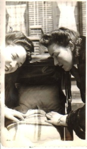 Mildred and Irene looking at Ariela 1947