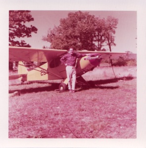 Irwin Elkins with Piper Cub 1958