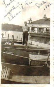 Joe on boat dock Lake 1942