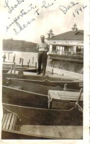 Joe on boat dock Lake 1942