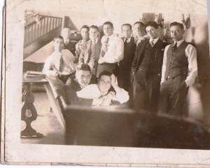 Manny with his fraternity brothers at U Iowa