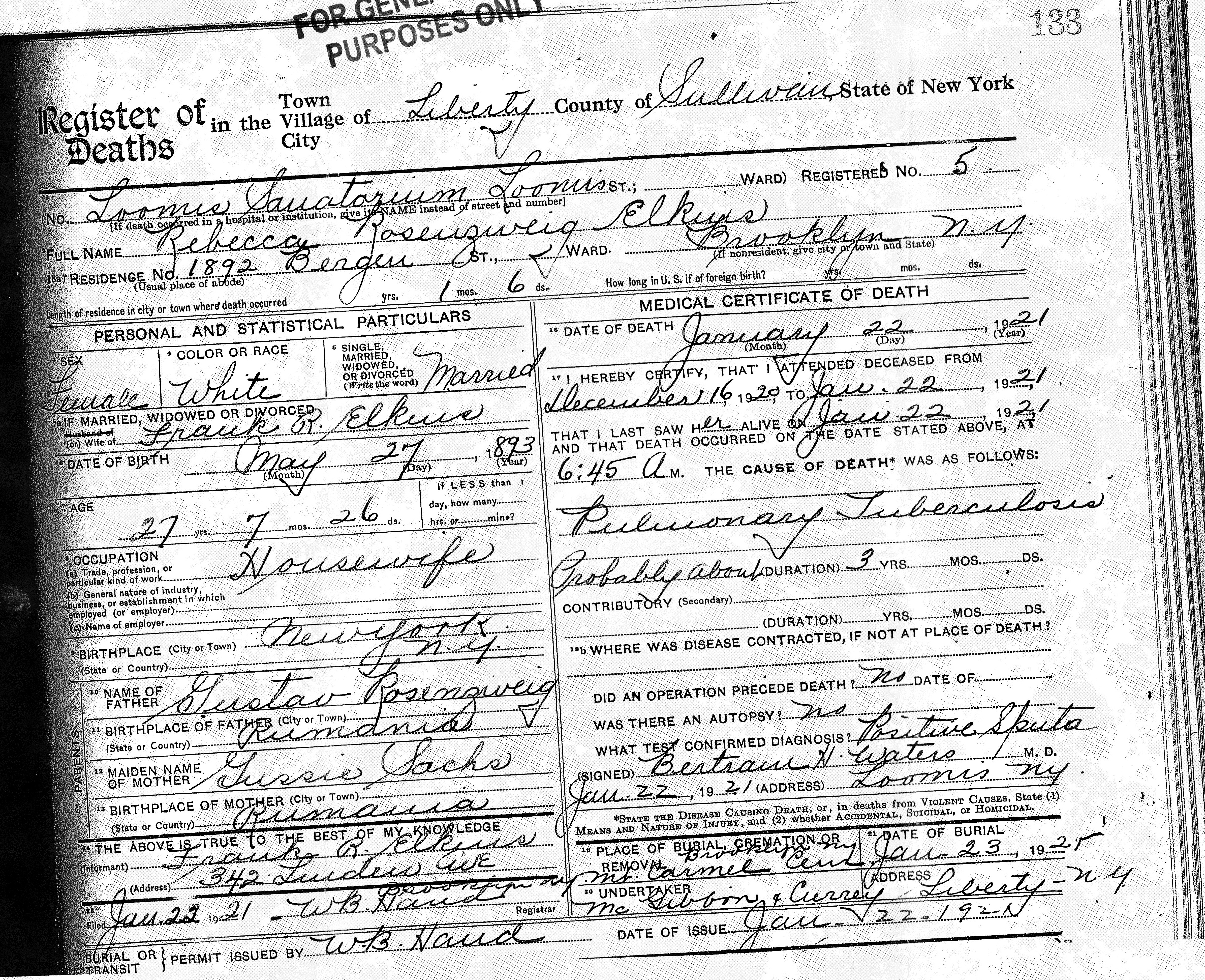 Death certificate brotmanblog a family journey page 2 rebecca elkin death certificate 1betcityfo Choice Image