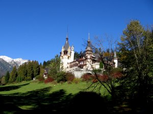 Peles Castle, Sinaia and surrounding countryside