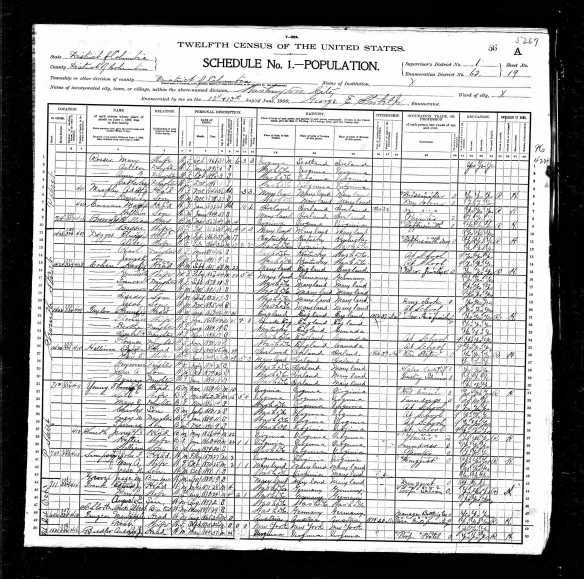 Hart Cohen and family in Washington, DC 1900 US census
