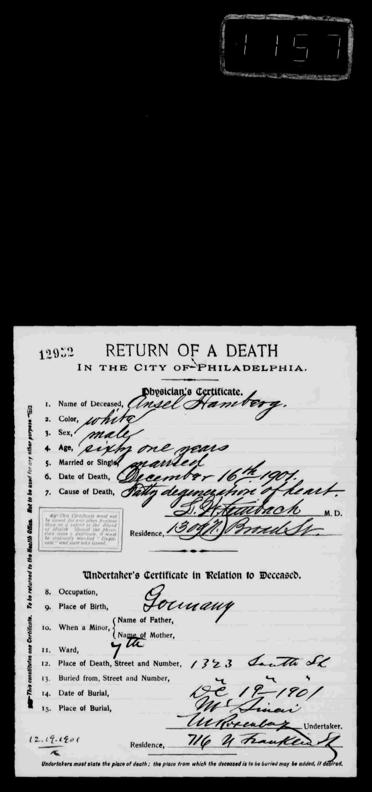 May 2014 brotmanblog a family journey ansel hamberg death certificate 1901 1betcityfo Image collections
