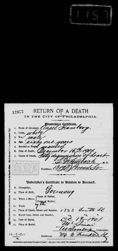 Ansel Hamberg death certificate 1901