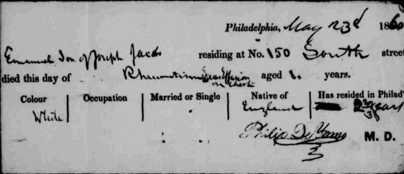 Emanuel Jacobs death certificate May 3, 1860