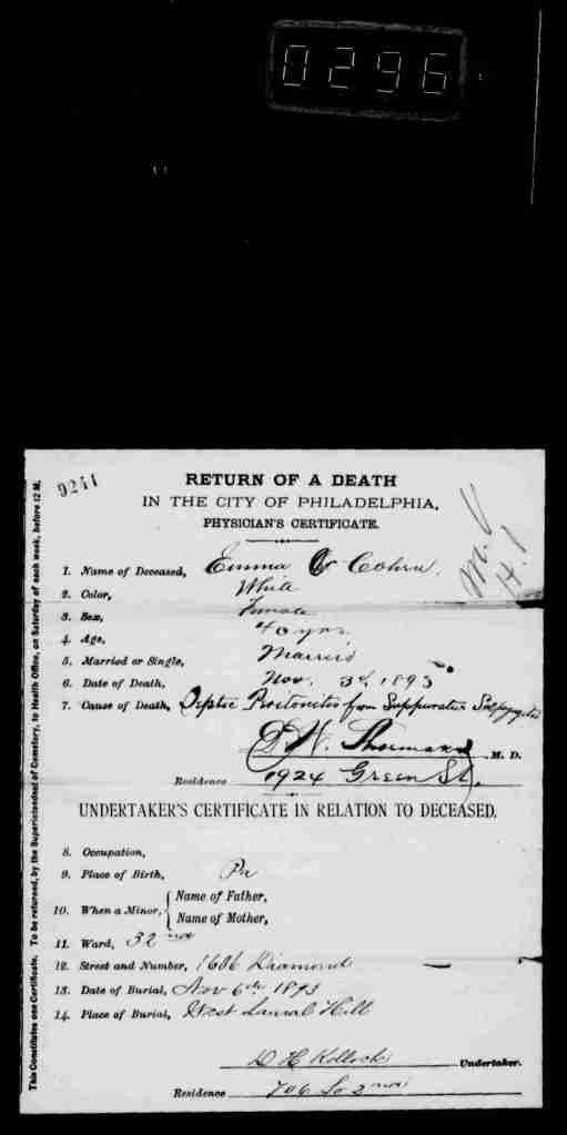 Emma Cohen death certificate 1893
