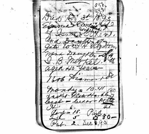 Emma Cohen funeral notes 1893