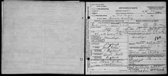 Fannie Cohen Hamberg death certificate 1911