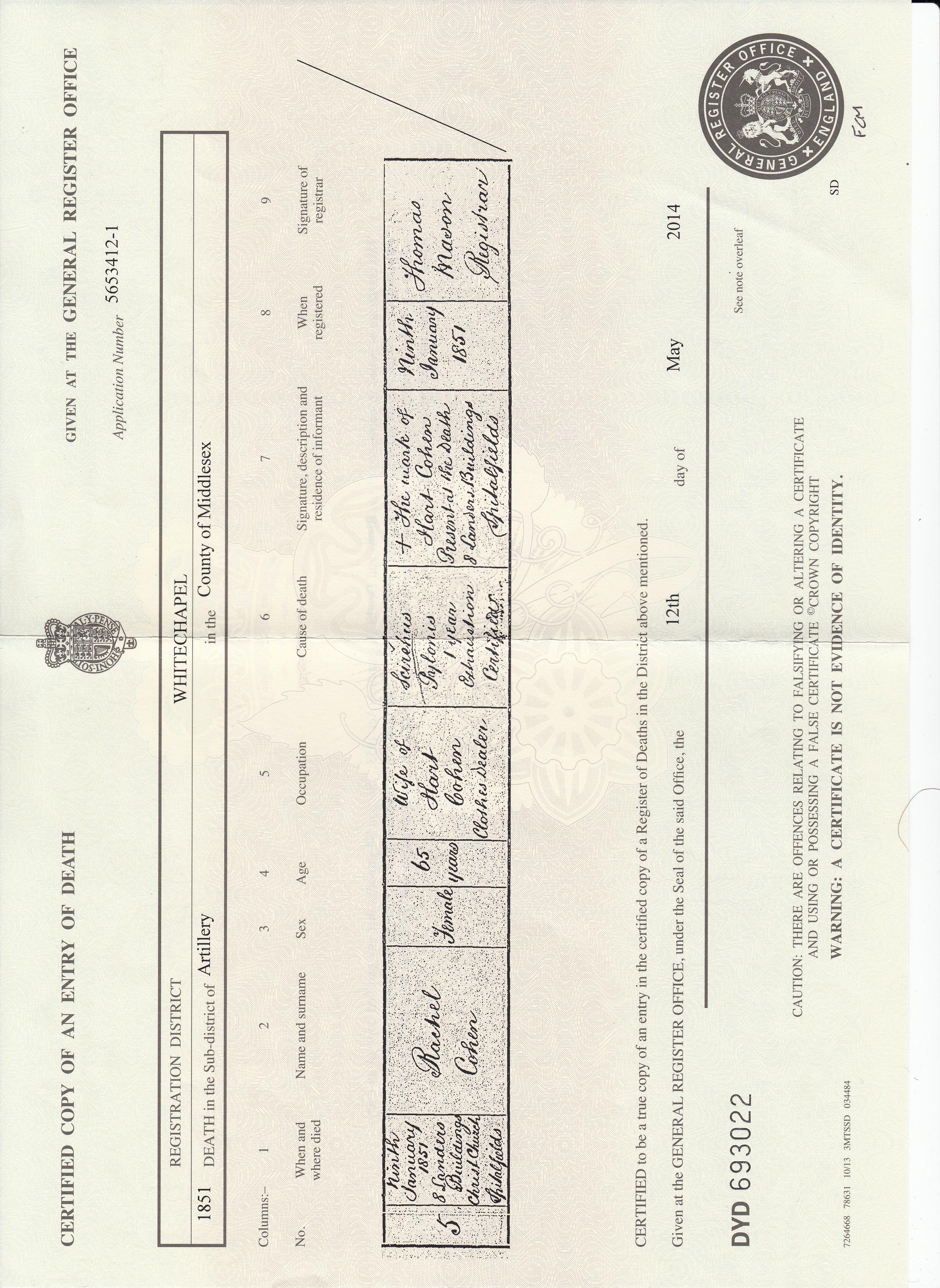 Vital records brotmanblog a family journey rachel jacobs cohen death certificate xflitez Image collections