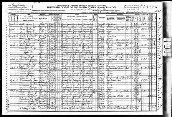 Isaac Cohen with Emanuel and family 1910 census