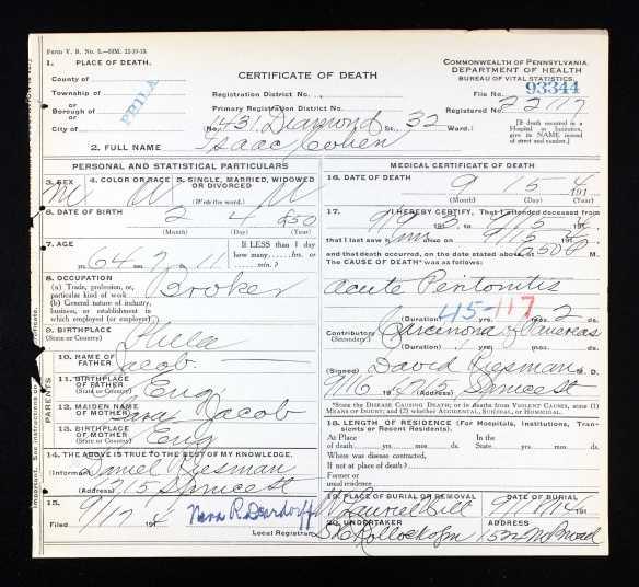 Isaac Cohen death certificate