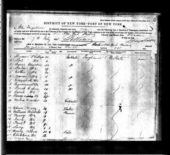 Jacob and Sarah Cohen ship manifest 1848