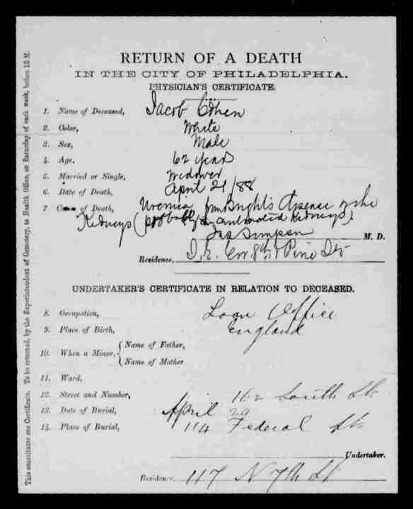 Jacob Cohen 1888 death certificate